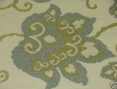 Cream Upholstery Fabric | CREAM W/ GREEN & BLUE FLORAL UPHOLSTERY FABRIC-4 3/4 YD