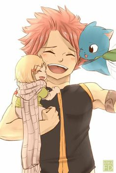 Nachi Dragneel, Natsu Dragneel and Happy Dragneel (Fairy Tail) - by Fairy News