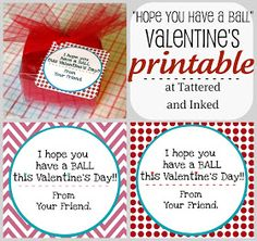 """Tattered and Inked: """"Have a Ball"""" Homemade Valentine Printable Tags"""