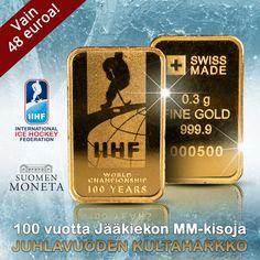 Jääkiekon MM-kisat 100 vuotta -kultaharkko on toteutettu yhteistyössä Kansainvälisen Jääkiekkoliiton (IIHF) kanssa. Valmistusmäärä vain 2000 kappaletta! Ice International, The 100