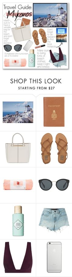 """""""Travel Guide: Mykonos"""" by kristennevanss on Polyvore featuring Graham & Brown, Mark Cross, Topshop, Billabong, ban.do, Prada, Benefit, T By Alexander Wang, Zimmermann and Native Union"""