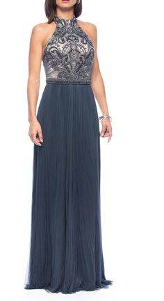 $1,800, Navy Beaded Evening Dress: Catherine Deane Wish Beaded Gown. Sold by shoptiques.com. Click for more info: https://lookastic.com/women/shop_items/229124/redirect