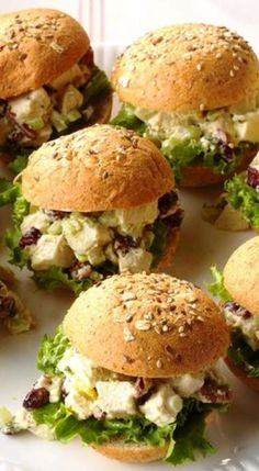 Chicken Salad Party Sandwiches Common Garden Weeds, Party Sandwiches, Styling A Buffet, Sweet Pickles, Pickle Relish, Curry Powder, Dinner Rolls, Chicken Salad, Salmon Burgers