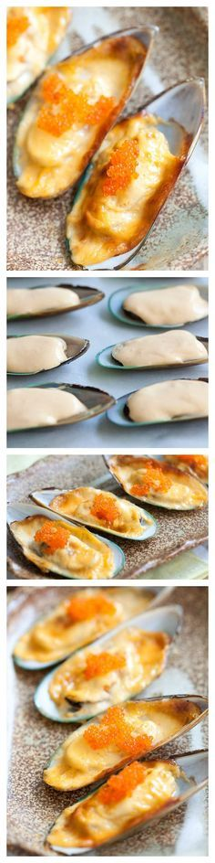 Cheese-Mayo Baked Mussels (Mussels Dynamite) Cheese-mayo mussels or baked mussels dynamite is so delicious. Easy recipe with cheese, mayo, mussels Shellfish Recipes, Seafood Recipes, Cooking Recipes, Mussel Recipes, Oyster Recipes, Rasa Malaysia, Best Appetizers, Appetizer Recipes, Easy Delicious Recipes