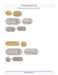 Counting Australian Coins (A) Money Worksheets, Worksheets For Kids, Math Tutor, Teaching Math, Maths, Learning Money, Australian Money, Math Drills, Money Activities