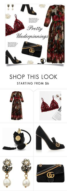 """""""Gucci Glam"""" by yummymummystyle ❤ liked on Polyvore featuring Dolce&Gabbana, Bijoux Indiscrets, Gucci, Allstate Floral, floral, gucci, blockheels and prettyunderpinnings"""