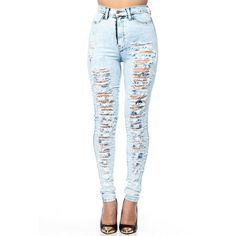 High Waist Ripped Acid Wash Skinny Jeans (190 BRL) ❤ liked on Polyvore featuring jeans, pants, bottoms, calças, high waisted distressed skinny jeans, destroyed skinny jeans, blue jeans, high rise skinny jeans and blue skinny jeans