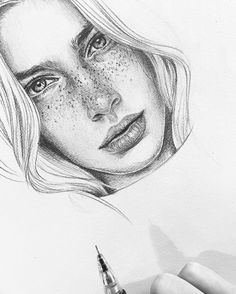 """875 Likes, 5 Comments - Thea Nordal Vågan (@theanordal) on Instagram: """"〰 #illustration #wip #pencildrawing #sketch #face #artwork #bytheanordal"""""""