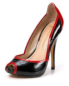 """Jean-Michel Cazabat """"Oba"""" patent-leather peeptoe pumps in Black Patent/Flame #heels #shoes"""