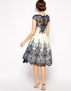 Image 2 ofChi Chi London Premium Embroidered Lace Prom Dress with Bardot Neck