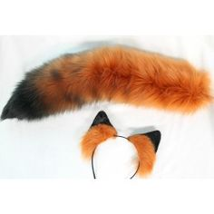 """Ears are tipped fox ears,that have airbrushed details. These are the same ears we list as """"hand painted fox"""" :) The tail is a fox tail with a black tip,and additional black airbrushing to create a gradient look. Fox Ears And Tail, Fox Costume, Real Costumes, White Puppies, White Cats, Ear Headbands, Red Fox, Crafty Craft, Airbrush"""