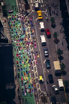 Aerial view of a yoga event in Times Square, New York City, USA