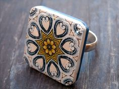 polymer clay and resin tiles - Bing Images Polymer Clay Ring, Blue Tiles, Curly Girl, Resin, Girly, Jewels, Ceramics, Rings, Bing Images