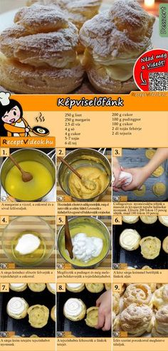 So könnt ihr Windbeutel mit leckerer Cremefüllung backen. Das Windbeutel Rez… So you can bake cream puffs with delicious cream filling. The windbag recipe video is easy to find using the QR code 🙂 puff Easy Cake Recipes, Easy Desserts, Baking Recipes, Creamed Spinach Frozen, Cream Puff Recipe, Hungarian Recipes, Italian Recipes, Cream Cheese Recipes, Food Videos