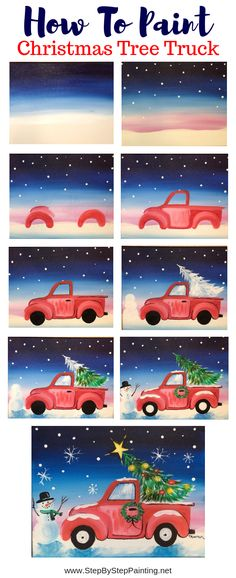 You CAN learn how to paint this online with this tutorial! How To Paint A Christmas Tree Truck – Step By Step Painting You CAN learn how to paint this online with this tutorial! How To Paint A Christmas Tree Truck – Step By Step Painting Paint And Sip, Christmas Truck, Christmas Art, Xmas, How To Draw Christmas Tree, Christmas Pictures To Draw, Christmas Ideas, Christmas Doodles, Christmas Drawing
