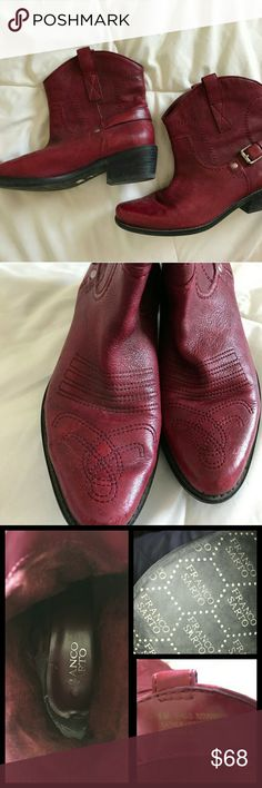 Franco Sarto red cowboy boots Cowboy booties in great condition.  Only worn a couple of times. Size fits better for someone who is a true 5.5 in my opinion Franco Sarto Shoes Ankle Boots & Booties