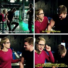 Loved this!And the looks she got from Diggle and Oliver! | Arrow - Felicity, Oliver & Diggle #4x07 #Season4