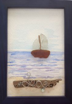 Items similar to Sea Glass Sailboat Picture Watercolor Painting Background on Etsy Sea Glass Crafts, Sea Crafts, Sea Glass Art, Seashell Crafts, Sea Glass Jewelry, Pebble Pictures, Driftwood Art, Beach Art, Pebble Art