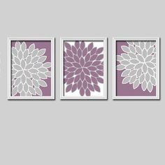 Bright Colorful Flowers Floral Purple Lavender Grey Gray White Artwork Set of 3 Trio Prints Bedroom Wall Decor Art Picture Bedding Match on Etsy, $25.00