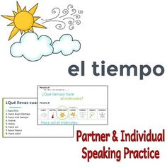 "This presentation is for practicing weather with days of the week. The vocabulary should be a review for students. The phrase ""Qu tiempo hace?"" is introduced first, then students complete more practices asking each other what the weather is like on a certain day, looking at the calendar and describing the weather according to the picture on the slide."