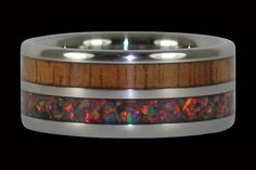 Dark Koa Hawaii Titanium Ring® with Blue Lab Opal