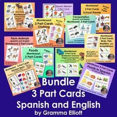 First grade math bundle pinterest math common cores and activities montessori bundle 3 part cards in spanish and english fandeluxe Gallery