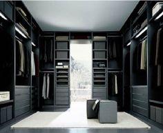 Sleek modern walk-in closet design with custom cabinetry & ottoman seats