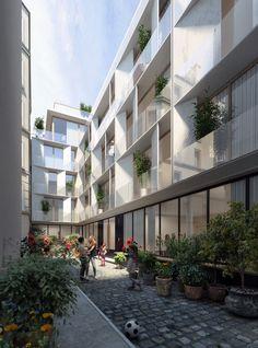 Ce projet comprend la construction de 2 bâtiments d'habitation en plein cœur de Paris dans le 5e arrondissement. Les deux bâtiments s'élèvent en R+4 et se présentent comme une architecture ambitieuse. Le corps principal du bâtiment propose des proportions horizontales, avec 3 niveaux seulement sur un grand linéaire de façade. Afin de compenser cette horizontalité, …