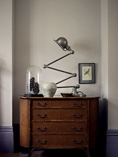 Love that lamp, and also the purple skirting with the grey walls grey walls pier point fired earth vintage task light Interior Design Living Room, Interior Decorating, Decorating Ideas, Hallway Decorating, Shades Of Grey Paint, Best Gray Paint, Fired Earth, Dresser As Nightstand, Grey Walls