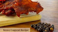 This copycat Krave Jerky recipe has been a long time coming. I absolutely love Krave, it's great that there are now fillers and that they use real Venison Jerky, Paleo Jerky, Jerkey Recipes, Bbq Pork, Copycat, Food For Thought, Keto Recipes, Meal Prep