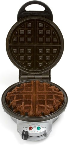 Brownies made in the waffle maker. Ready in 5 minutes! Top with ice cream to make it extra yummy!
