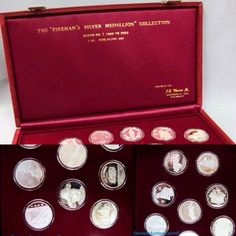 """""""Fireman's Silver Medallion"""" collection, series number 2, 1986 - 2000, contains 15 medallions each 1oz pure silver; case 15"""" wide. Bid close Thurs, 15 Sept from 11am ET. http://bid.cannonsauctions.com/cgi-bin/mnlist.cgi?redbird57/155/1"""