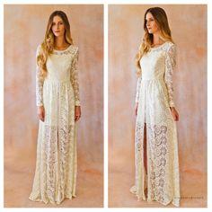 Ivory Lace Beaded Long Sleeve Bohemian Wedding Dress. HAND EMBELLISHED BEADING with flyaway skirt and mini dress. Romantic wedding dress
