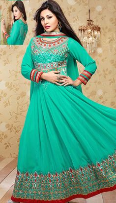 Select the Latest Designer Beautiful Rama Green Georgette #AnarkaliDresses Online.  #Price INR- 3525 Link- http://alturl.com/54t9h