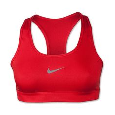 Women's Nike Pro Compression Sports Bra ($30) ❤ liked on Polyvore featuring activewear, sports bras, tops, shirts, bras, sport, red, moisture wicking shirts, sports shirts and sweat wicking shirt