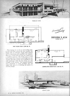 Vintage House Plans, Modern House Plans, Vintage Architecture, Facade House, Mid Century House, Mid Century Modern Design, Residential Architecture, Historic Homes, Outline