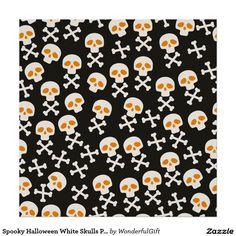 Spooky Halloween White Skulls Pattern on Black Poster