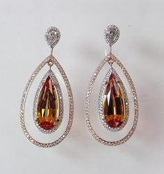 Imperial Topaz and Diamond Earrings