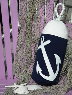 Buoy bumper indoor-outdoor anchor pillow fishing navy white lobster coastal sailing boating SCUBA ocean nautical Crabby Chris Original on Etsy, $38.00