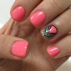 Orange smoothie coral tribal nail Art design