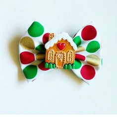 Gingerbread House bow by ByrdieNestDesigns on Etsy