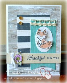 Hello Foxy, SOTM, No Worries, Close To My heart, CTMH, Watercolor Pencils, Oval Thin Cuts, masking, clear heat embossing, Krista's Crafty Corner