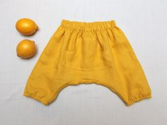 Yellow kids harem shorts Linen boys and girls harems by ZanziBach