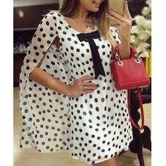 #trendsgal.com - #Trendsgal Scoop Neck Batwing Sleeve Polka Dot Chiffon Dress - AdoreWe.com