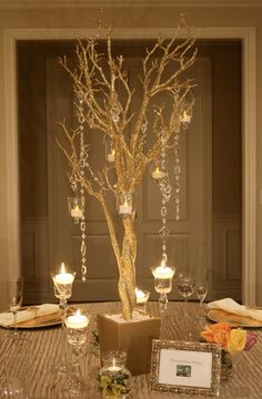 Gold tree wedding centerpieces, love for Fall wedding Gold Wedding, Wedding Table, Diy Wedding, Wedding Themes, Wedding Reception, Wedding Flowers, Dream Wedding, Wedding Ideas, Perfect Wedding