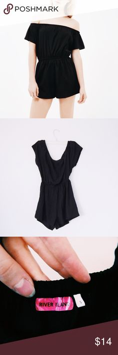 🍒 River Island Black Bardot Playsuit 🍒 ✨Like New Black River Island Romper! ✨ 🌸Size S🌸 🌼Slightly sheer fabric🌼 🌿Elastic waistband + shoulerband. Can be worn on or off the shoulders (model in photo is wearing off the shoulder)🌿 🌷No trades, thanks🌷 🌺I can negotiate for reasonable offers!🌺 River Island Other