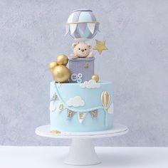 Balloon Birthday Cakes, Baby First Birthday Cake, Creative Birthday Cakes, Elephant Baby Shower Cake, Elephant Cakes, Baby Shower Cakes, Birthday Party At Park, Baby Boy Cakes, Dream Cake