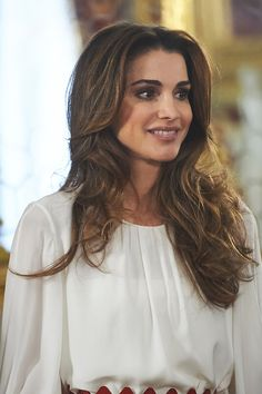 Queen Rania of Jordan attends a lunch with Jordans Royals at Royal Palace on November 20, 2015 in Madrid