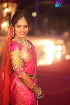South Indian bride. Pink Kanchipuram silk sari. Temple jewelry. Braid with fresh flowers. Tamil bride. Telugu bride. Kannada bride. Hindu bride. Malayalee bride