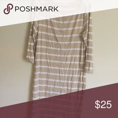 Closing my online plus size store Tan and white striped boat neck dress Dresses